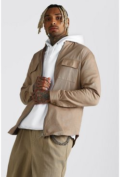 Khaki Grandad Collar Cotton Twill Shirt Jacket