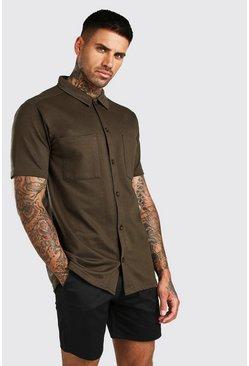 Khaki Short Sleeve Utility Button Through Shirt