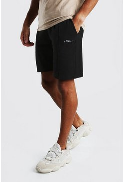Black MAN Signature Pique Pintuck Shorts