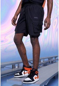 Black Original MAN Shell Cargo Shorts With Buckles