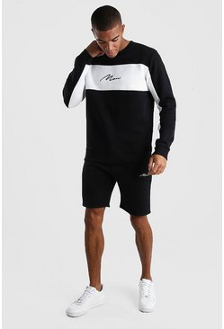 MAN Signature Colour Block Short Tracksuit, Black