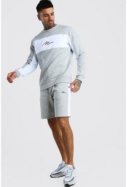 MAN Signature Colour Block Short Tracksuit, Grey marl