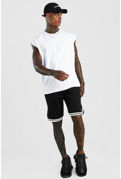 Black Basic Jersey Relaxed Shorts