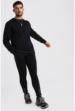 Black MAN Signature Sweater Tracksuit With Zip Cuff