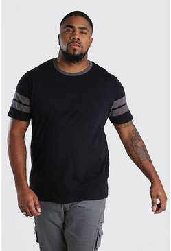Black Big And Tall Colour Block Sleeve T-Shirt