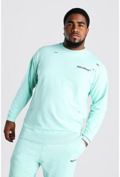 Big And Tall MAN Official Distressed Sweater, Mint