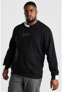 Black Big And Tall MAN Dash Splice Hem Sweatshirt