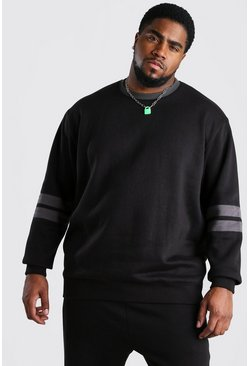Big And Tall Colour Block Sweatshirt, Black