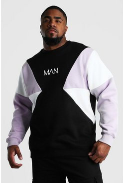 Big And Tall MAN Dash Colour Block Sweatshirt, Black