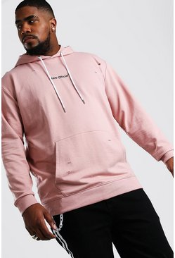 Mauve Big And Tall MAN Official Distressed Hoodie