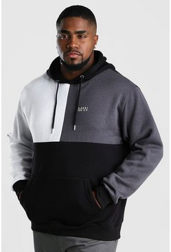 Big And Tall MAN Dash Colour Block Hoodie, Black