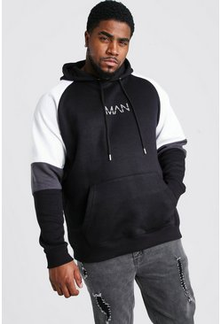 Big And Tall Colour Block Sleeve Hoodie, Black