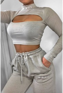 Damen Set mit Pullover mit Cut-Out und Jogginghosen, Hellgraue steinfarbe