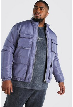 Big And Tall 4 Pocket Funnel Neck Jacket, Charcoal