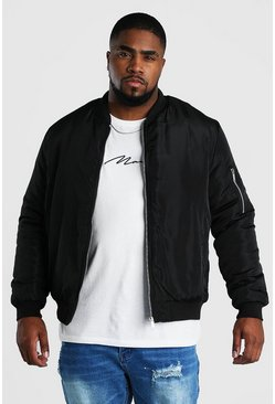 Black Big And Tall Padded Bomber With MA1 Sleeve