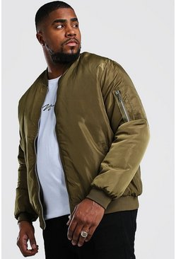 Light khaki Big And Tall Padded MA1 Sleeve Bomber