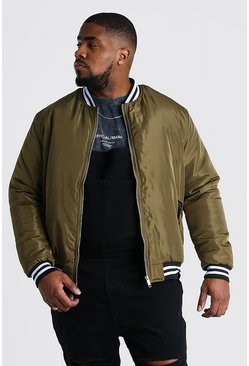 Khaki Big And Tall Contrast Rib Padded Bomber