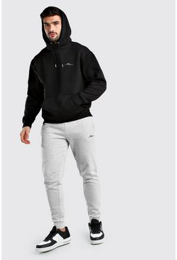 Black Contrast MAN Signature Loose Fit Tracksuit