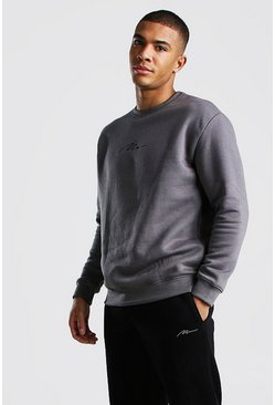 Survêtement sweat coupe ample MAN Signature Hi-Lo, Ardoise
