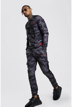 Dark grey MAN Official Camo Utility Sweater Tracksuit