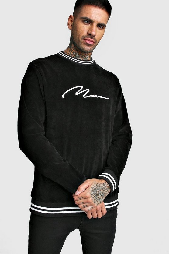 Black MAN Signature Velour Sweatshirt With Sports Rib
