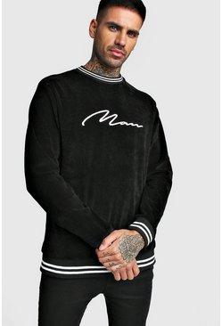 Black MAN Signature Velour Sweatshirt With Sports Rib