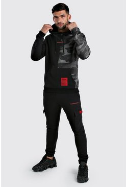 Black MAN Official Spliced Camo Cargo Hooded Tracksuit