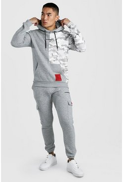 Grey marl MAN Official Camo Cargo Hooded Tracksuit