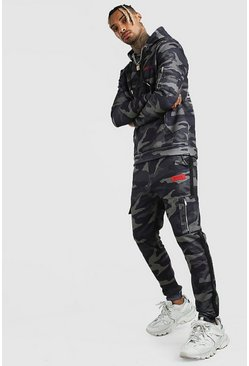 Dark green Camo Utility Hooded Tracksuit With MAN Print