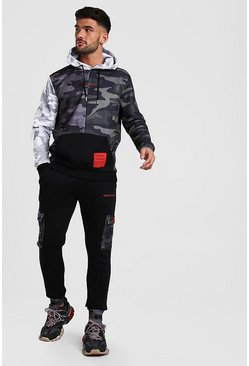 MAN Official Camo Colour Block Hooded Tracksuit