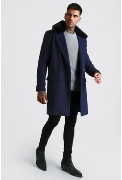 Navy Double Breasted Faux Fur Overcoat