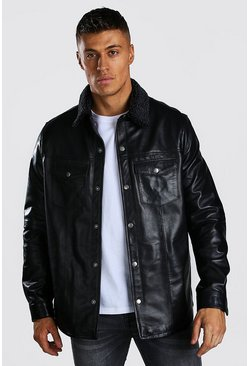 Black Borg Collar Real Leather Button Through Shacket