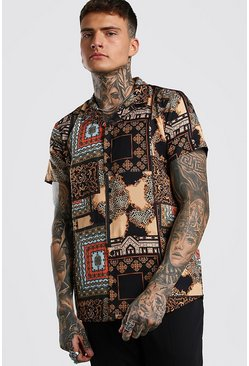 Black Short Sleeve Revere Collar Tile Print Shirt