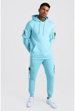 Light blue Official MAN Deep Cuff Utility Tracksuit