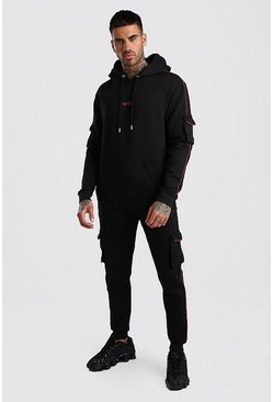 Black Original MAN Cargo Hooded Tracksuit With Piping