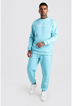 Light blue Official MAN Loose Fit Sweater Tracksuit