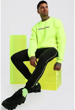 Yellow Contrast Official MAN Sweater & Jogger with Piping