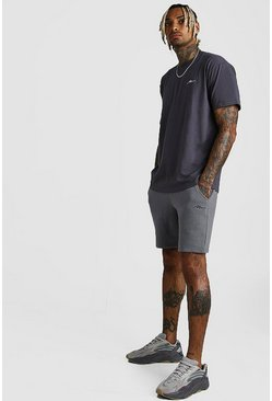 Ensemble short et t-shirt coupe ample signature MAN, Ardoise