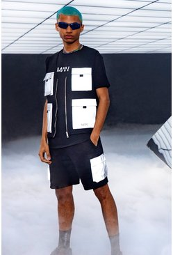 Black MAN Reflective Utility Vest & Short