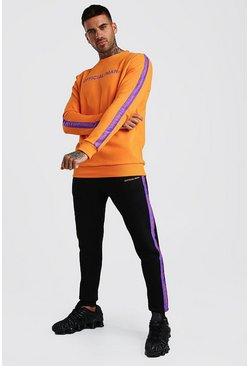 Orange Contrast  Official MAN Tape Sweater & Jogger Set