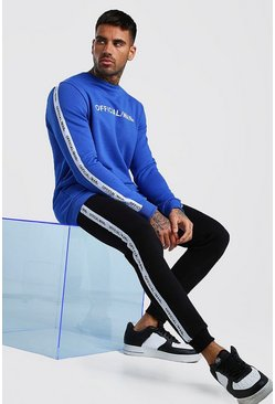Cobalt Contrast Official MAN Tape Sweater & Jogger Set