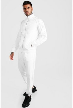 White Official MAN Shell Funnel Neck Tracksuit