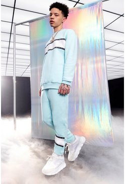 Light blue MAN Tape Colour Block Loose Sweater Tracksuit