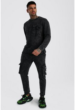 Charcoal Acid Wash MAN Utility Sweater Buckle Tracksuit