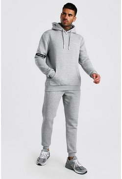 Grey marl Official MAN Hooded Tracksuit With Tape Detail