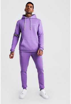 Purple Official MAN Hooded Tracksuit With Tape Detail