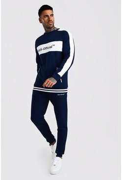 White MAN Official Contrast Panel Tracksuit With Rib