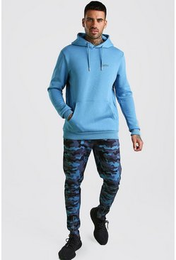 Blue Contrast MAN Hoodie & Camo Jogger With Zip Cuffs