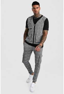 Grey MAN Jacquard Check Utility Vest & Jogger Set