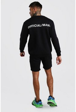Black Loose Fit Sweater Tracksuit With MAN Official Print